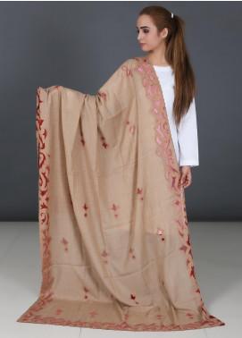 Sanaulla Exclusive Range Cutwork Pashmina  Shawl 578 Fawn - Kashmiri Shawls