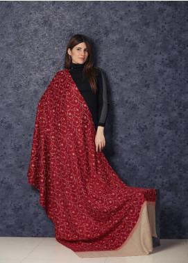 Sanaulla Exclusive Range Embroidered Pashmina  Shawl AKP-339 Maroon - Kashmiri Shawls