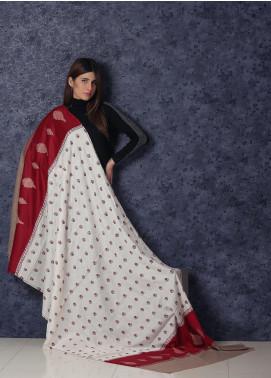Sanaulla Exclusive Range Embroidered Pashmina  Shawl AKP-352 Cream - Kashmiri Shawls