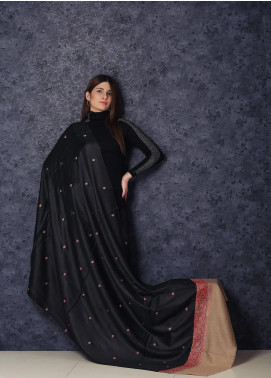 Sanaulla Exclusive Range Embroidered Pashmina  Shawl AKP-358 Black - Kashmiri Shawls