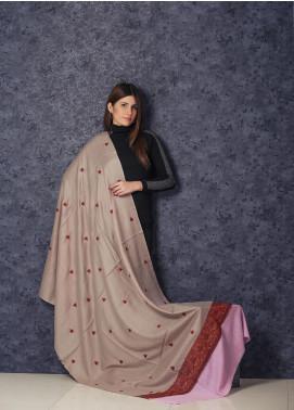 Sanaulla Exclusive Range Embroidered Pashmina  Shawl AKP-363 Fawn - Kashmiri Shawls