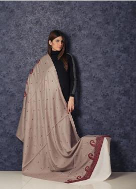 Sanaulla Exclusive Range Embroidered Pashmina  Shawl AKP-364 Cream - Kashmiri Shawls