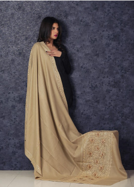 Sanaulla Exclusive Range Embroidered Pashmina  Shawl MIR-111 Fawn - Kashmiri Shawls