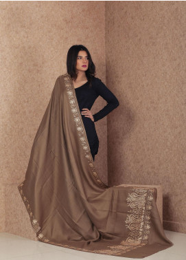 Sanaulla Exclusive Range Embroidered Pashmina  Shawl MIR-115 Brown - Kashmiri Shawls