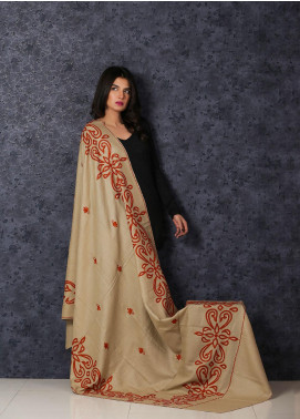 Sanaulla Exclusive Range Embroidered Pashmina  Shawl MIR-126 Fawn - Kashmiri Shawls