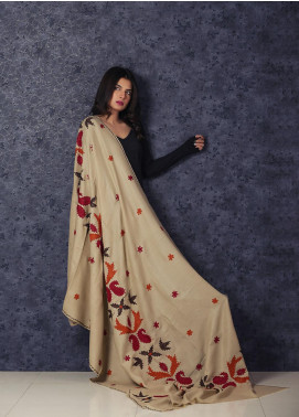 Sanaulla Exclusive Range Embroidered Pashmina  Shawl MIR-128 Fawn - Kashmiri Shawls