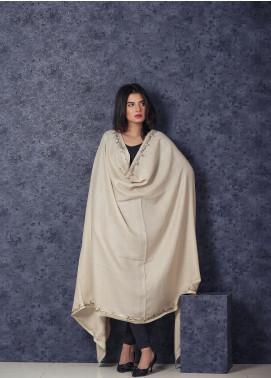 Sanaulla Exclusive Range Embroidered Pashmina  Shawl MIR-141 Fawn - Kashmiri Shawls