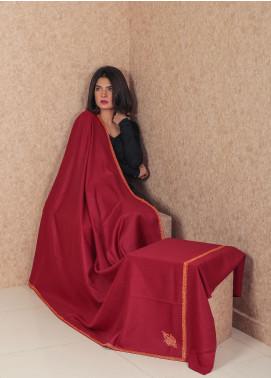 Sanaulla Exclusive Range Embroidered Pashmina  Shawl MIR-148 Maroon - Kashmiri Shawls
