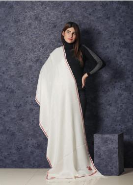 Sanaulla Exclusive Range Embroidered Pashmina  Shawl MIR-27 White - Kashmiri Shawls