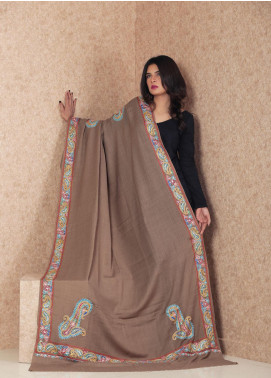 Sanaulla Exclusive Range Embroidered Pashmina  Shawl MIR-273 Dark Brown - Kashmiri Shawls