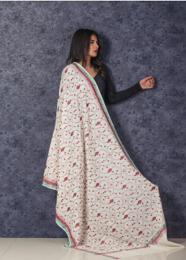 Sanaulla Exclusive Range Embroidered Pashmina  Shawl MIR-56 Off White - Kashmiri Shawls