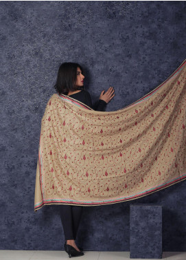 Sanaulla Exclusive Range Embroidered Pashmina  Shawl MIR-59 Fawn - Kashmiri Shawls