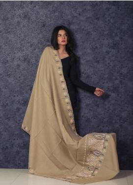 Sanaulla Exclusive Range Embroidered Pashmina  Shawl MIR-97 Beige - Kashmiri Shawls