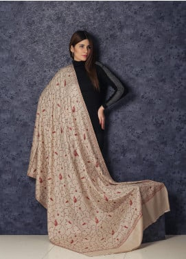 Sanaulla Exclusive Range Hand Embroidered Pashmina  Shawl SHL-39 Fawn - Kashmiri Shawls