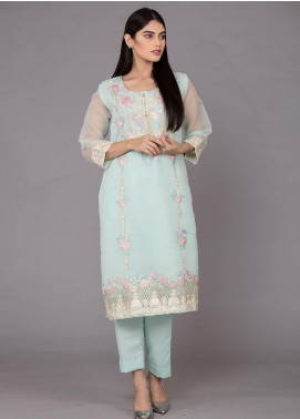 The Lace Embroidered Organza Stitched 2 Piece Suit Afternoon Bleu-D39 Blue