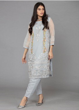 The Lace Embroidered Organza Stitched 2 Piece Suit Bleu Marine-D22 Grey