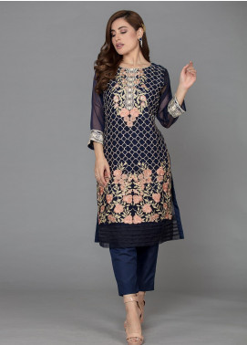 The Lace Embroidered Chiffon Stitched 2 Piece Suit Bleu MarineII-D23 Navy Blue