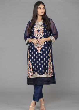 The Lace Embroidered Chiffon Stitched 2 Piece Suit Midnight Sparkle-D08 Blue