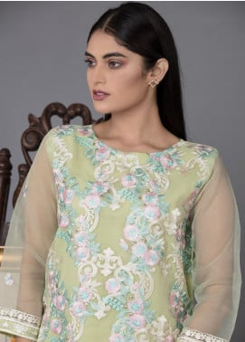 The Lace Embroidered Organza Stitched 2 Piece Suit Mint Suave-D21 Apple Green