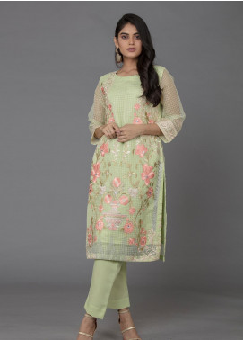 The Lace Embroidered Organza Stitched 2 Piece Suit Mint Swirl-D06 Green