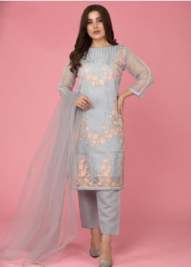 The Lace Embroidered Organza Stitched 3 Piece Suit Moonlight Beauty-D13 Grey