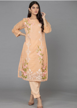 The Lace Embroidered Organza Stitched 2 Piece Suit Peachy Pink Lady-D07 Peach