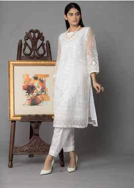 The Lace Embroidered Organza Stitched 2 Piece Suit Sheer White-D16 White