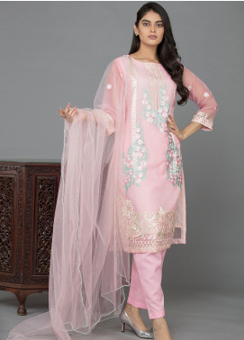 The Lace Embroidered Organza Stitched 3 Piece Suit Vintage Blooms-D17 Pink