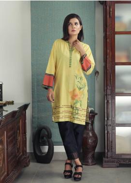 Waniya Printed Cotton Stitched Kurtis PK-156 FLORAL YELLOW