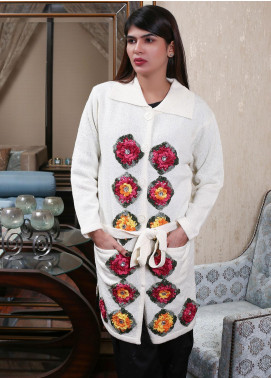 Sanaulla Exclusive Range Embroidered Acrylic Free Size Sweaters 19-A3987-Off White - Winter Collection