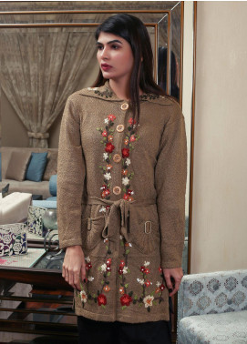 Sanaulla Exclusive Range Embroidered Acrylic Free Size Sweaters 19-B3928-Light Brown - Winter Collection