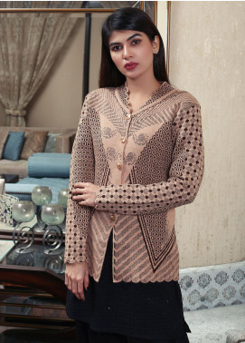 Sanaulla Exclusive Range Embroidered Acrylic Free Size Sweaters 19-F181156-70-Brown - Winter Collection