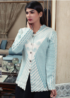 Sanaulla Exclusive Range Embroidered Acrylic Free Size Sweaters 19-F181156-70-Sky Blue - Winter Collection