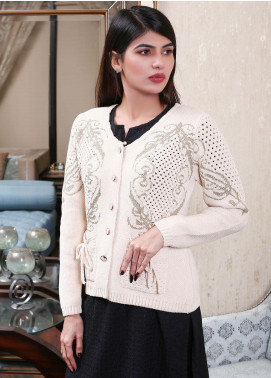 Sanaulla Exclusive Range Embroidered Acrylic Free Size Sweaters 19-F9382-60-Beige - Winter Collection