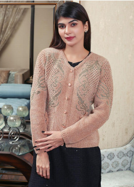 Sanaulla Exclusive Range Embroidered Acrylic Free Size Sweaters 19-F9382-60-Brown - Winter Collection