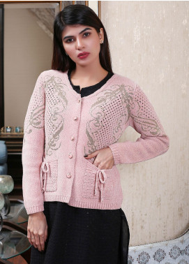 Sanaulla Exclusive Range Embroidered Acrylic Free Size Sweaters 19-F9382-60-Pink - Winter Collection