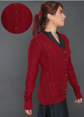 Sanaulla Exclusive Range Embroidered Acrylic Free Size Sweaters E01-Maroon - Winter Collection