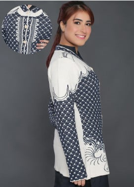 Sanaulla Exclusive Range Weaved Acrylic Free Size Sweaters F181138-70-Blue - Winter Collection