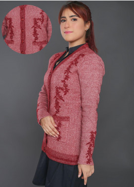 Sanaulla Exclusive Range Embroidered Acrylic Free Size Sweaters F403-1-Maroon - Winter Collection