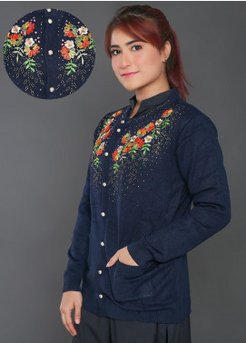 Sanaulla Exclusive Range Embroidered Acrylic Free Size Sweaters F723-Blue - Winter Collection