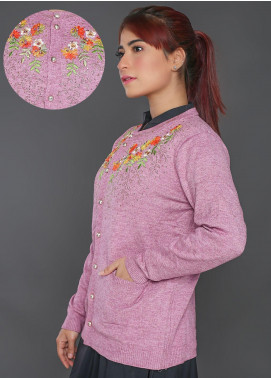 Sanaulla Exclusive Range Embroidered Acrylic Free Size Sweaters F723-Purple - Winter Collection