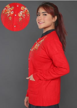 Sanaulla Exclusive Range Embroidered Acrylic Free Size Sweaters F723-Red - Winter Collection