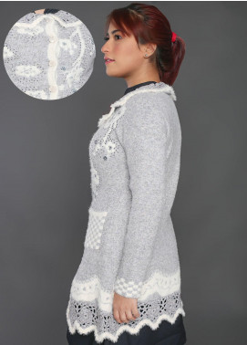 Sanaulla Exclusive Range Embroidered Acrylic Free Size Sweaters F9025-Light Grey - Winter Collection