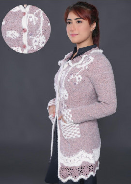 Sanaulla Exclusive Range Embroidered Acrylic Free Size Sweaters F9025-Pink - Winter Collection