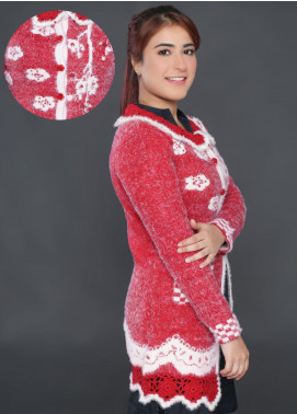 Sanaulla Exclusive Range Embroidered Acrylic Free Size Sweaters F9025-Red - Winter Collection