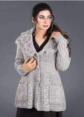 Sanaulla Exclusive Range Textured Acrylic Free Size Sweaters SA18S 38 - Winter Collection