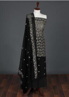 Sanaulla Exclusive Range Embroidered Chiffon Unstitched 3 Piece Suit SER19C 01 Black - Luxury Collection