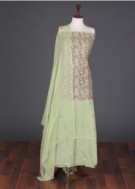 Sanaulla Exclusive Range Embroidered Chiffon Unstitched 3 Piece Suit SER19C 03 Green - Luxury Collection