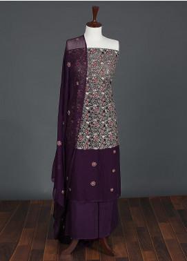 Sanaulla Exclusive Range Embroidered Chiffon Unstitched 3 Piece Suit SER19C 03 Purple - Luxury Collection