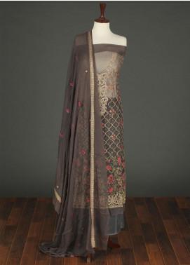 Sanaulla Exclusive Range Embroidered Chiffon Unstitched 3 Piece Suit SER19C 04 Dark Grey - Luxury Collection
